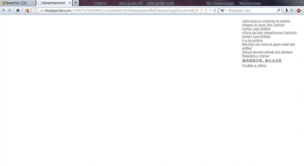 screenshot showing lots of white space plus a link in different languages through to the article