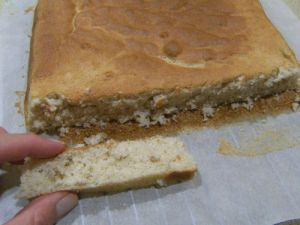 a very flat cake that looks like it had to be torn apart rather than sliced